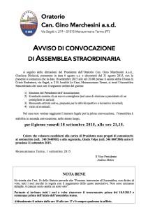 convocazione assemblea straordinaria 2015